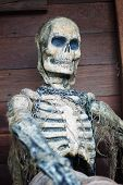 stock photo of plunder  - Pirate skeleton on the ship - JPG
