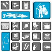 pic of fishing bobber  - Collection of different 19 fishing squared icons - JPG