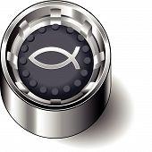 Rubber button round faith jesus fish
