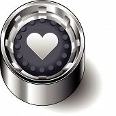 Rubber button round heart love cute