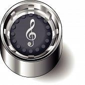 Rubber button round music treble clef