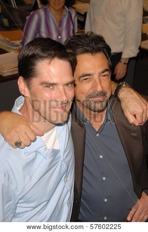 Thomas Gibson and Joe Mantegna at the Criminal Minds 100th Episode Party. Quixote Studios, Los Angeles, CA. 10-19-09