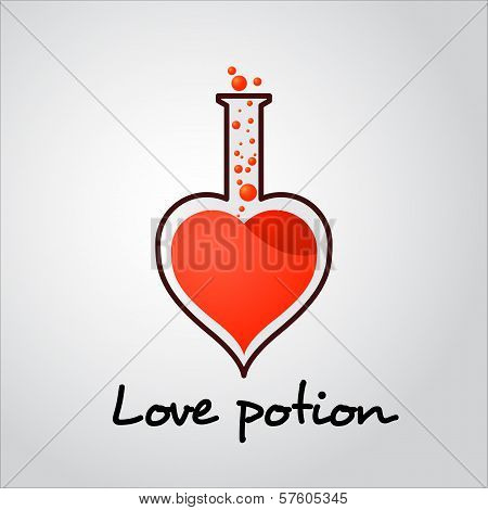 Vector Love potion tube with bubbles illustration