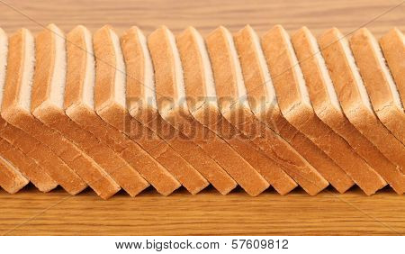 Row of sliced wheaten bread