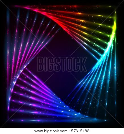 Shining lights rainbow colors vector frame