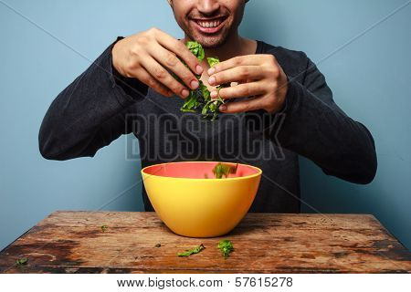 Happy Man Tossing Salad