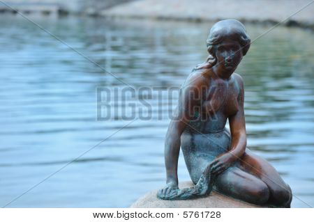 Statue Of The Little Mermaid In Copenhage