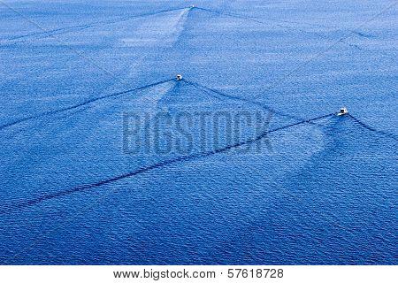 Fishing Speedy Boat Prop Wash, White Wake On The Blue Lake