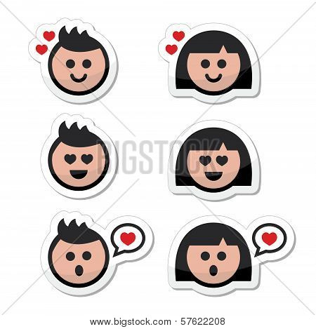 Man and woman in love, valentine's icons set