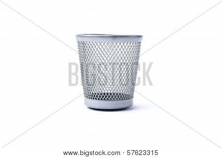 Empty Iron Trash Bin, Isolated On White Background