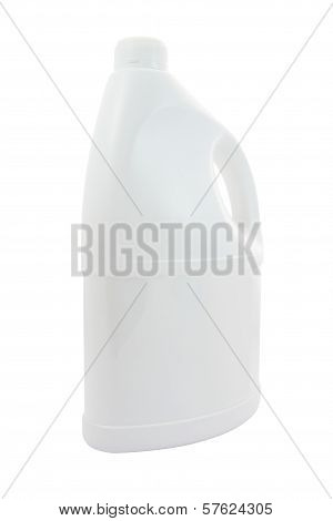 Side of plastic gallon with handle on white background.