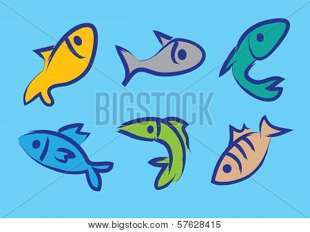 Six Vector Illustration Of Colorful Fishes