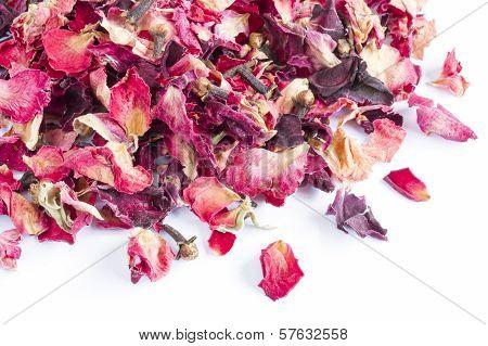 Dried rose petal pot-pourri