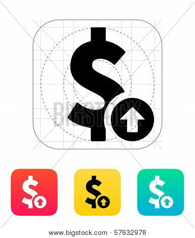 Dollar exchange rate up icon.