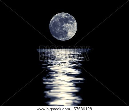 Full Blue Moon With Reflection