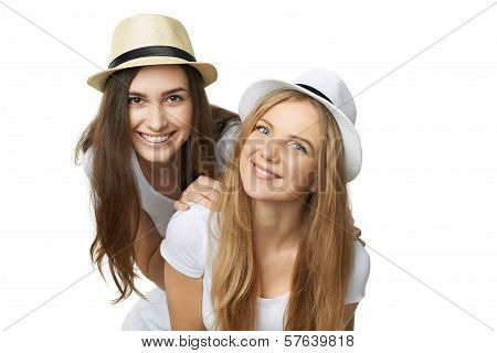 Two women friends having fun.
