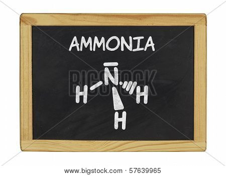 chemical formula of ammonia on a blackboard