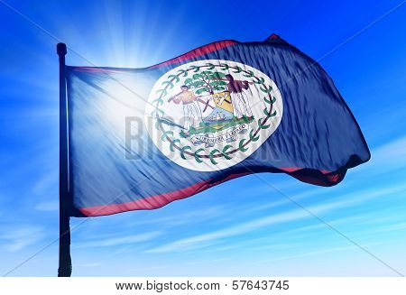 Belize flag waving on the wind