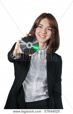 Businesswoman holding the cd disk in her hand