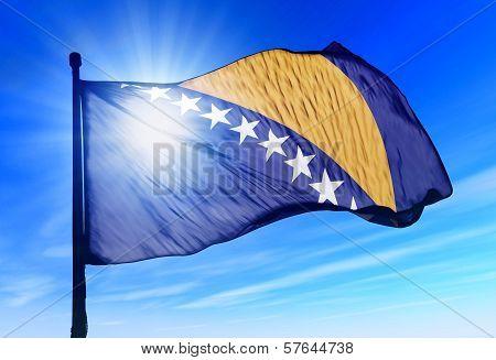 Bosnia and Herzegovina flag waving on the wind