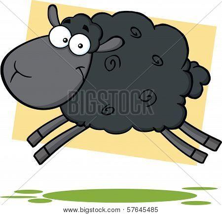 Funny Black Sheep Cartoon Character Jumping