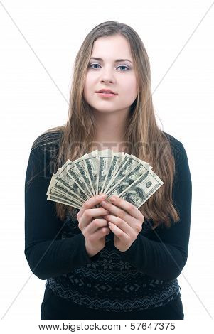 Girl with wad of money in her hands