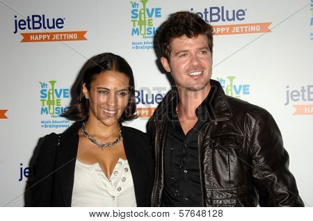 Paula Patton and Robin Thicke at the JetBlue Airways and VH1 Save the Music Party. MyHouse, West Hollywood, CA. 06-17-09