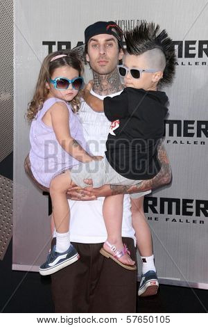 Travis Barker and family at the Los Angeles Premiere of 'Transformers Revenge of the Fallen'. Mann Village Theatre, Westwood, CA. 06-22-09
