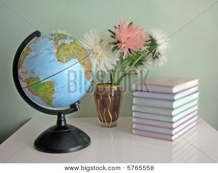 Globe, books and asters