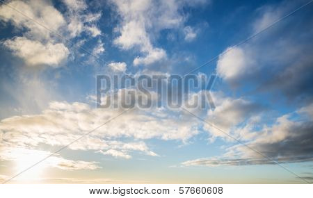 Stunning Autumn Blue Sky In Morning With White Clouds