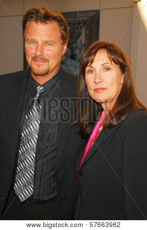 Greg Evigan and Pamela Serpe  at the Memorial Service honoring the life of Ed McMahon. Leonard H. Goldenson Theatre, North Hollywood, CA. 07-01-09