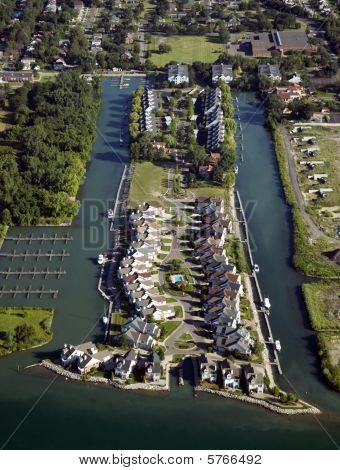 Waterfront Neighborhood Aerial