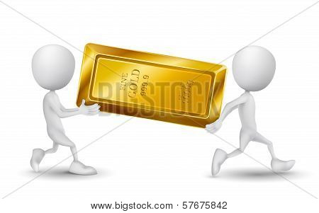 Two People Carried A Golden Bar