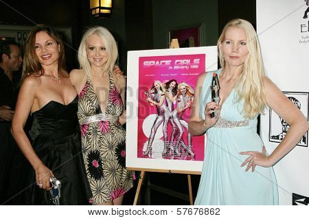 Donna Spangler with Brittan Taylor and Allie Moss  at the West Coast Premiere of 'Space Girls in Beverly Hills'. Regency Fairfax Cinema, Los Angeles, CA. 07-31-09