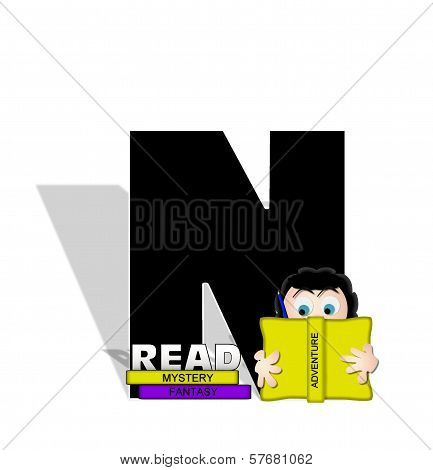 Alphabet Absorbed In Reading N