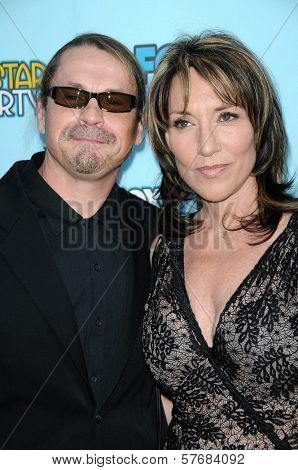 Kurt Sutter and Katey Sagal at FOX's 2009 All Star Party. Lanham Huntington Hotel, Pasadena, CA. 08-06-09