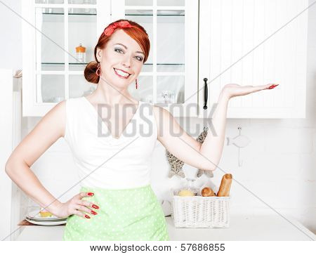 Happy Beautiful Housewife Presenting