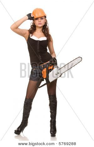 Woman With Motor Saw