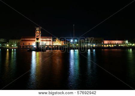 Rhodes Island Landmark, Mandraki Port, Greece. The Historical Port Is Still Used Today As A Marina B