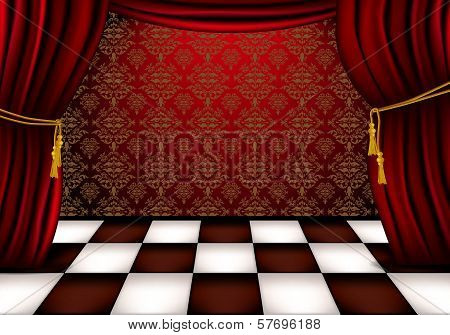 Royal hall with red curtains and checkered tiles