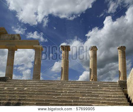 Partially rebuilt temple of Athena Lindia at the Acropolis of Lindos, Rhodes island, Greece