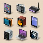 stock photo of tv sets  - detailed media and technology vector icon set - JPG