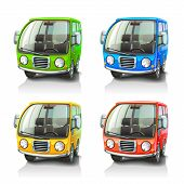 stock photo of motor-bus  - Colorful vector car icons on white background - JPG