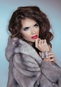 stock photo of mink  - Beauty Fashion Model Girl in Mink Fur Coat - JPG