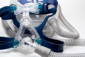 stock photo of cpap machine  - A full face mask for a CPAP machine - JPG