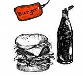image of burger  - Burger with ketchup hand drawn black and white illustration - JPG