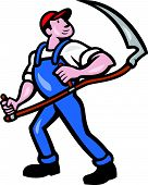 picture of scythe  - Illustration of a farmer farm worker holding scythe facing front on isolated white background done in cartoon style - JPG