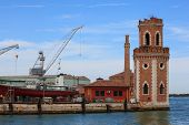 stock photo of arsenal  - View of the Shipyard Arsenale in Venice - JPG