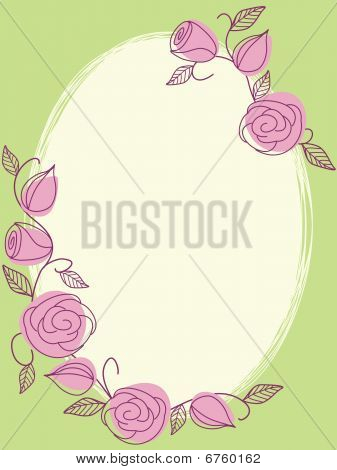 Springtime hand drawn oval frame with roses