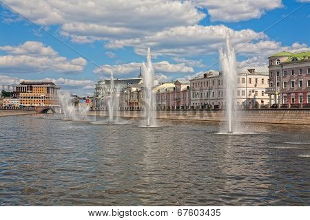 Moscow fountains in the drainage channel